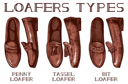 men's shoes: Vector illustration of men's suit and casual loafer shoes set: penny, tassel, bit loafers. Vintage drawing style. Illustration
