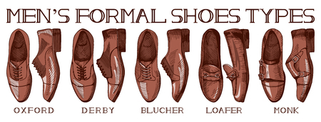 Vector illustration of men's formal suit shoes: oxfords, derby, bluchers, loafers, monks. Ultimate guide in vintage drawing style. Illustration