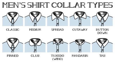 Ilustración vectorial de una camisa cuellos tipos: clásico, medio, extendido, cutaway, botón abajo, clavado, club, tuxedo, mandarina, ficha. Estilo del dibujo del vintage.