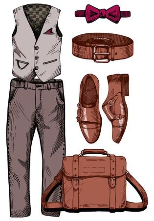 Illustrazione vettoriale di un set di abbigliamento maschile alla moda: gilet gentiluomo, pantaloni casual, cravatta a farfalla (farfalla), cintura in pelle, scarpe da monaco, borsa messenger. Stile di disegno d'epoca. Archivio Fotografico - 72714040