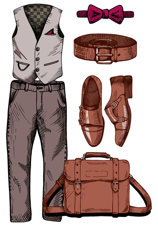Vector illustration of a trendy male clothing set: gentleman vest, casual pants, bow (butterfly) tie, leather belt, monk shoes, messenger bag. Vintage drawing style. Иллюстрация