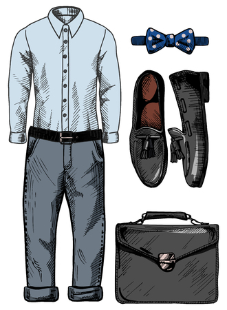 loafer: Vector illustration of a trendy male clothing set: blue shirt, casual jeans pants, bow (butterfly) tie, loafer shoes, black briefcase. Vintage drawing style.