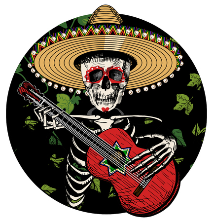 Vector illustration of sugar skull in Mexican sombrero playing on red Spanish guitar on black circle background. Vintage hand drawn style. Illustration