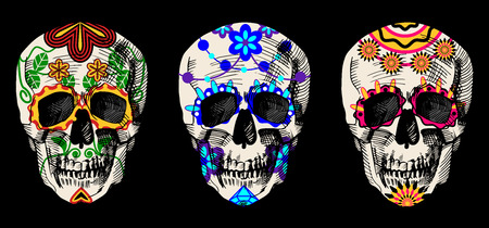 Vector illustration of sugar skulls set in detailed hand-drawn style. Vintage engraving image on black background.
