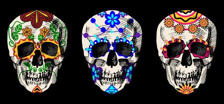 Vector illustratie van suiker schedels in gedetailleerde hand getekende stijl. image gravure op een zwarte achtergrond. Stock Illustratie