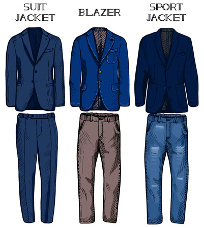 Vector illustration of jackets types: suit jacket, blazer and sport jacket. Matching pants and jeans.