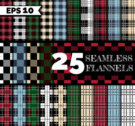 25 seamless textures: flannel lumberjack shirt patterns set. Different color: red, green, blue, beige, black and white, squared patterns. Ilustracja