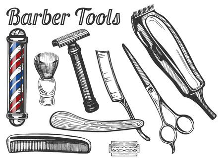Ilustración vectorial de herramientas de peluquería de época: clásicos barberos poste, cepillo de afeitar, seguro y recto navajas, tijeras de peluquería, cepillo de pelo, hoja y máquina de afeitar eléctrica.