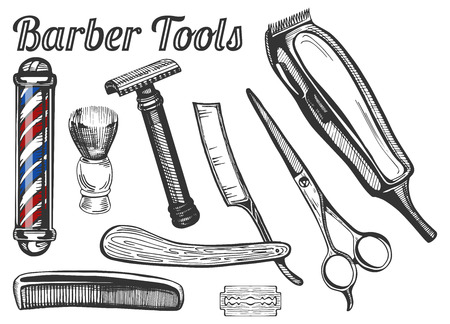 Vector illustration of vintage barber tools: classic barbers pole, shaving brush, safe and straight razors, hairdressing scissors, hair brush, blade and electric shaving machine. Ilustração