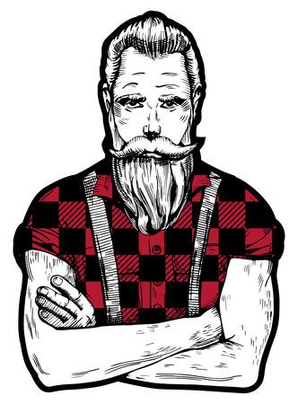 Ilustración vectorial de la tinta dibujado hombre con barba y bigotes en cuadrado negro con camisa de leñador rojo con enrollado mangas. Close-up retrato de trabajador en estilo vintage a mano.