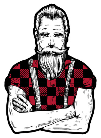 Vector illustration of ink drawn man with beard and mustaches in squared black with red lumberjack shirt with rolled up sleeves. Close-up worker portrait in hand-drawn vintage style.