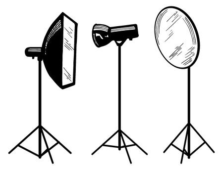 Vector illustration of photo studio equipment: softbox, flashlight, reflector. Hand drawn sketch style. Vector Illustration