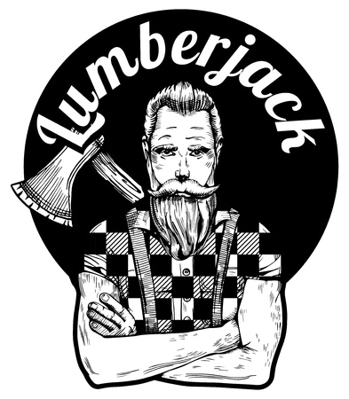 Vector illustration of detailed ink-drawn handsome athletic man with nice full beard, mustaches and ax behind the shoulders. Lumberjack inscription on the background. Illustration