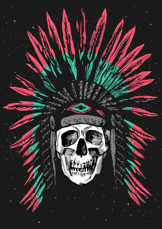 Vector illustration of a skull in Native Americans feather headdress. Ink hand-drawn style on grungy black background.