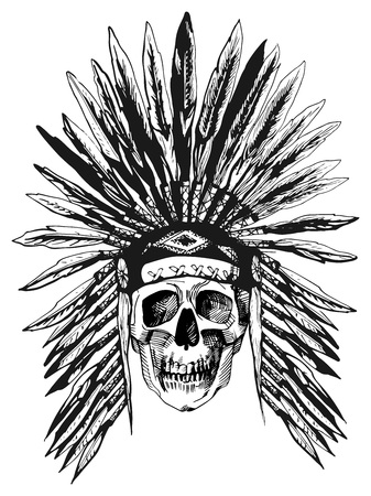 Vector black and white illustration of a skull in Native Americans feather headdress. Ink hand-drawn style isolated on white.