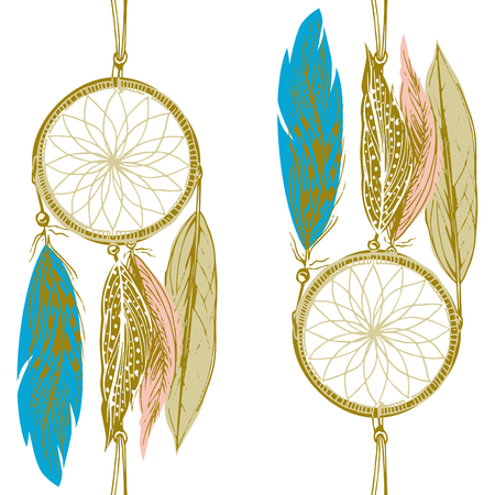 manner: Seamless dream catcher pattern in boho tribal style. Tender yellow, pink and turquoise feather with golden outlines. Vector illustration in hand-drawn manner. Illustration
