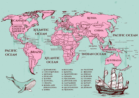 Vector illustration of a vintage style world map with all the official countries on 2017 year. Turquoise ocean, pink map with blue whale and ship decorations. Old-fashioned engraving style.