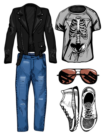 Vector illustration of a male casual clothing look: double racer leather jacket, blue denim jeans, skeleton printed t-shirt, accessories: brown aviator sunglasses and white sneakers.