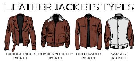 ベクトル イラスト セット革のジャケットの主なタイプ: ダブル ライダーと爆撃機または飛行、モト レーサー、代表チームのジャケット。手描きス