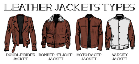 Vector illustration set of leather jackets main types: double rider, bomber or flight, moto racer and varsity jackets. Hand drawn style.