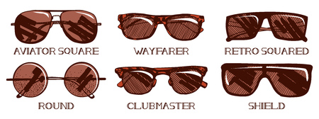 A Vector illustration of mens and unisex sunglasses types. Most popular models: square aviator, wayfarer, retro squared, round, clubmaster and shield. Hand drawn enaraving style.