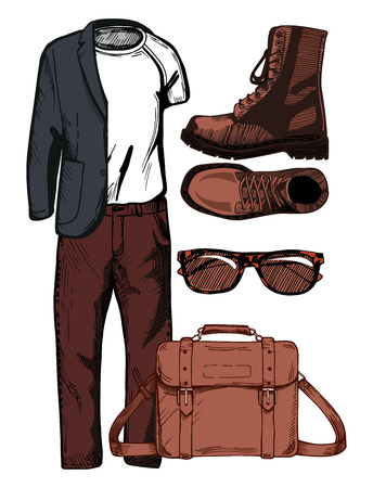 Vector illustration of a male casual clothing look: sport jacket, white t-shirt, pants, accessories: wayfarer sunglasses in tortoise shell frame, brown combat boots, and messenger bag. Illustration