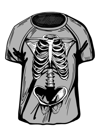 Vector illustration of grey t-shirt with stylish modern skeleton rib cage print. Hand-drawn style.