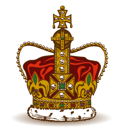 sable: Vector illustration of golden monarchy crown with red velvet and sable fur, ornated with pearls, diamonds and other jewelry stones. Illustration
