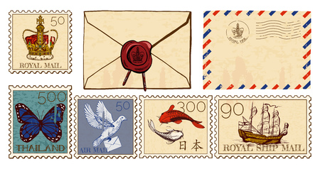 Vector illustration of letter envelopes and postmarks set. Cover with wax seal, air mail, crown, butterfly, dove, koi fish and old ship illustrated old stamps.