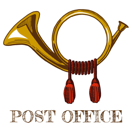 Vector illustration of brass vintage postal horn in colored hand-drawn style.