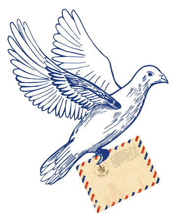 Vector illustration of hand-drawn postal dove holding air mail envelope. Vintage engraving style, colored drawing.