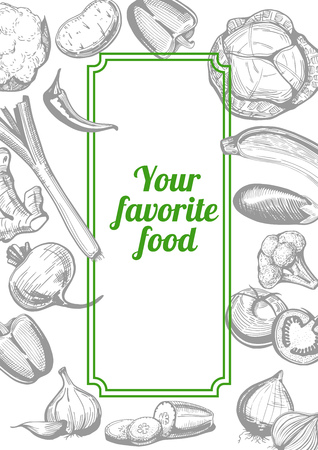 Vector illustration of the vegetables in ink drawn style with copyspace for your text. Grey engraving style with bright green accent.