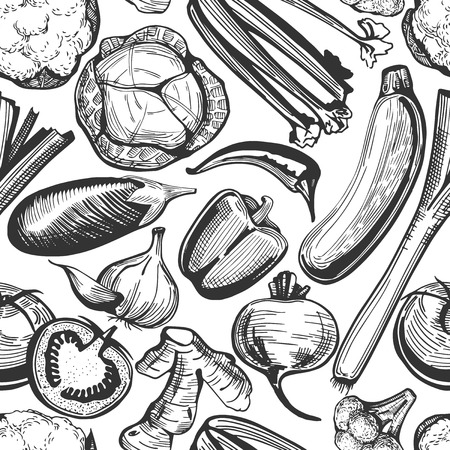 Vector seamless pattern of hand-drawn vegetables on white. Broccoli, cauliflower, cabbage, beetroot, potatoes, aubergine, zucchini, carrot, onion, celery, ginger, garlic, tomatoes, cucumber, pepper, chili, leek
