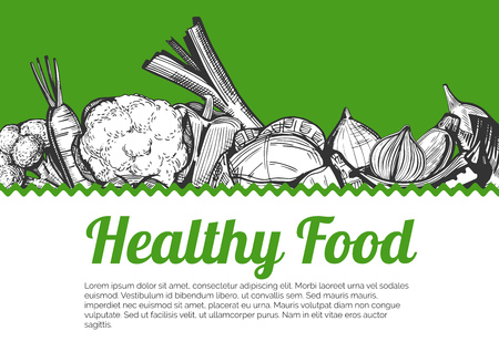 Vector illustration of the vegetables in ink drawn style with copyspace for your text. Grey engraving style with bright green background.