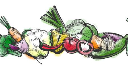 シームレスな野菜クーポン ストライプのベクトル図は手に明るいカラフルな水彩背景スタイルを描画します。