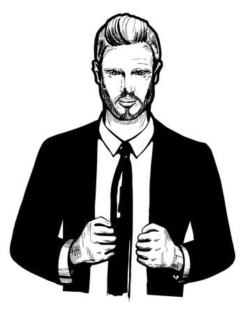 Vector black and white illustration of a business man in suit with tie. Successful confident businessman in hand drawn style. Illustration
