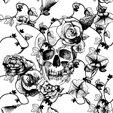 santa zombie: Vector illustration of a skull surrounded and covered with plants and flowers on white background. Black and white engraving style, good for silk screen printing. Illustration