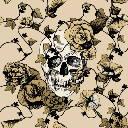 santa zombie: Vector illustration of a skull surrounded and covered with plants and flowers. Vintage engraving style, yellow, golden, khaki colors