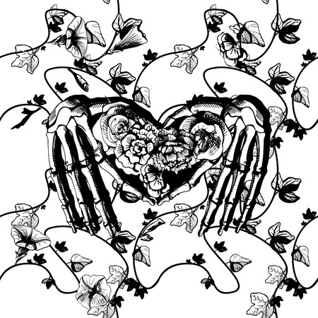 santa zombie: Vector illustration of a skeleton hands making heart, surrounded and covered with plants and flowers. Vintage engraving style, black and white, good for silk screen printing Illustration