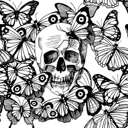 Vector illustration of skull surrounded and covered with multiple butterflies. Vintage old-fashioned engraving style, black and white, good for silk screen printing version. Illustration