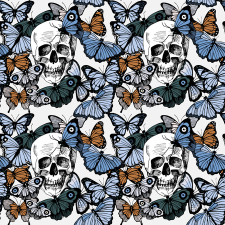 Vector illustration, seamless pattern of skull surrounded and covered with multiple butterflies. Vintage old-fashioned engraving style