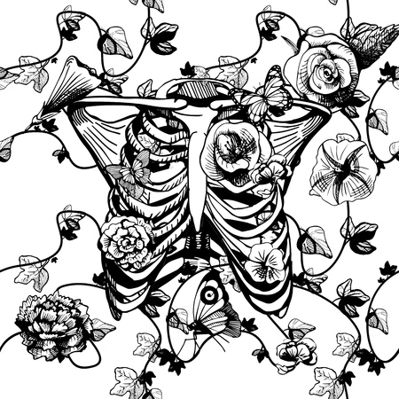 Vector illustration of a ribcage surrounded and covered with plants and flowers on white background. Ribs in black and white engraving style, good for silk screen printing.