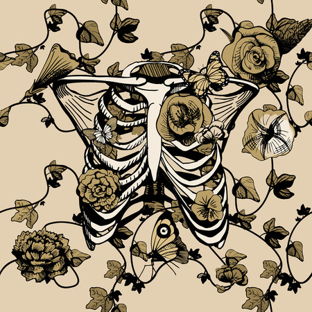 Vector illustration bones of chest surrounded and covered with plants, flowers, and butterflies. Ribs, ribcage in yellow, golden, khaki color