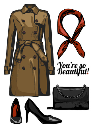 Vector illustration of women fashion clothes look set. Trench coat, clutch bag, black patent leather pointed pumps, red silk scarf. Ink hand drawn style, colored.