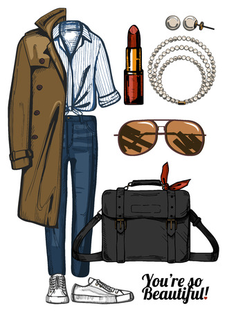 A Vector illustration of women fashion clothes look set. Trench coat, denim jeans, red lipstick, satchel bag, sneakers, pearls necklace and earrings.