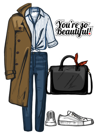 Vector illustration of women fashion clothes look set. Trench coat, structured bag, white knotted shirt, denim jeans and sneakers. Ink hand drawn style, colored. Illustration