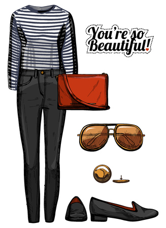 Vector illustration of women fashion clothes look set. Stripped black and white top blouse, black skinny jeans, red crossbody bag, aviator sunglasses, loafers. Ink hand drawn style, colored.