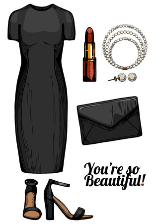 Vector illustration of women fashion clothes look set. Little black bodycon dress,strapped block heel sandals, envelope clutch bag, pearl necklace and earrings,red lipstick. Ink hand drawn style, colored.