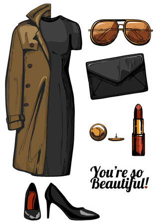 Vector illustration of women fashion clothes look set. Trench coat, little black bodycon dress, aviator sunglasses, clutch bag, red lipstick, golden jewellery, black patent pointed pumps shoes. Ink hand drawn style, colored. Illustration
