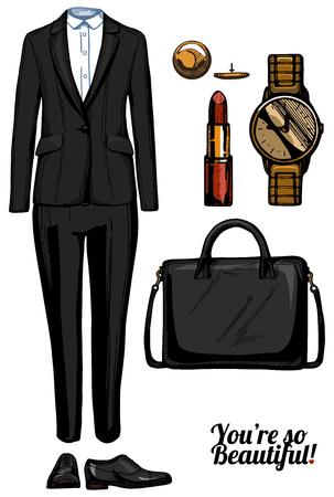 Vector illustratie van vrouwen mode kleding kantoor kijk set. Zwart formele pak met klassiek wit shirt, oxford platte schoenen, gestructureerde tas, gouden horloge, rode lippenstift. Inkt handgetekende stijl, gekleurd.